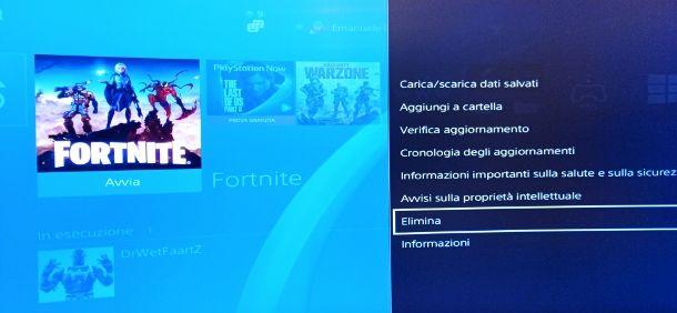 Eliminare Fortnite PS4