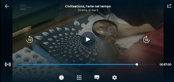 funzionalità player app RaiPlay