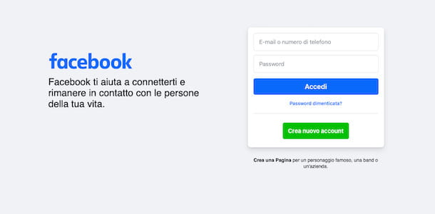 Recupero account Facebook