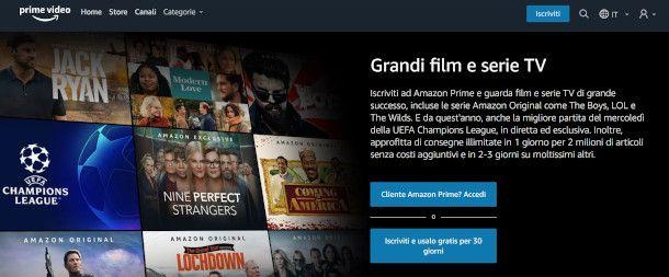prime video interfaccia browser