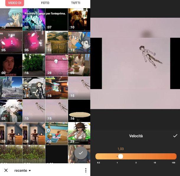Montaggio video InShot su Android