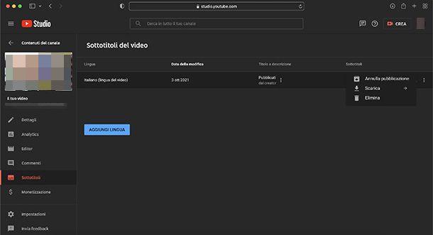Come scaricare i sottotitoli dai propri video su YouTube
