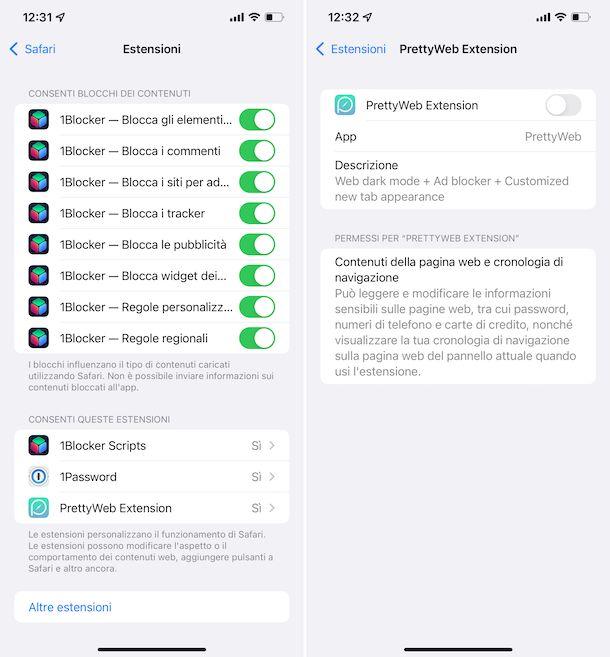 Estensioni Safari iOS 15