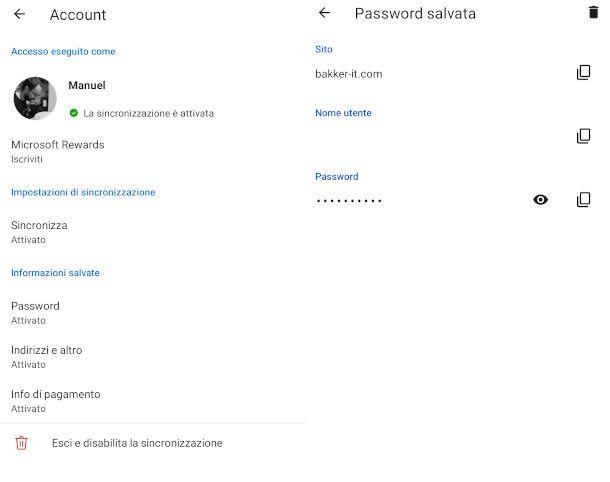 vedere le password su edge mobile