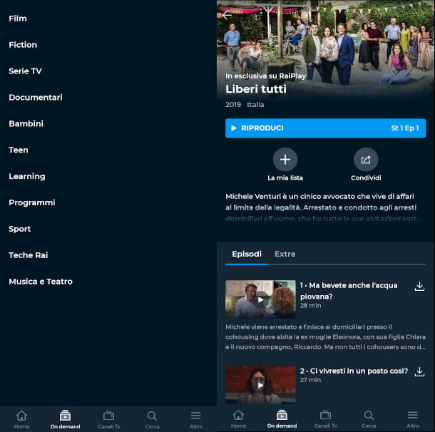 sezione on demand app raiplay