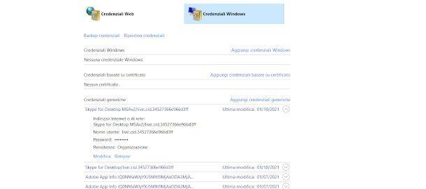 credenziali windows