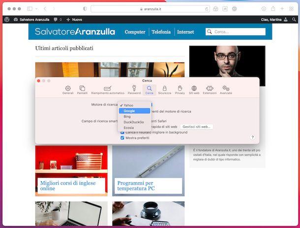 Safari motore di ricerca macOS