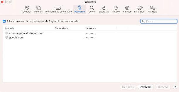 visualizzare password safari da PC