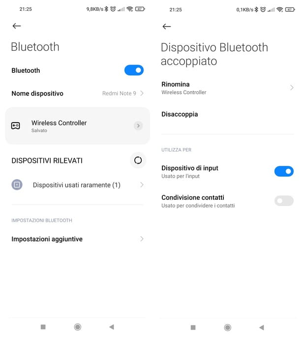 Eliminare dispositivi associati Bluetooth Android