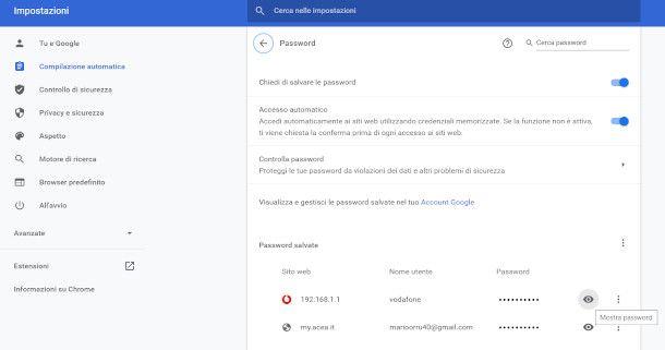 visualizzare password chrome per PC