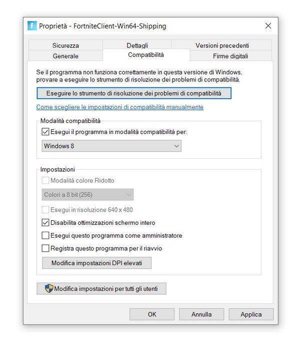 Impostare modalità compatibilità Fortnite