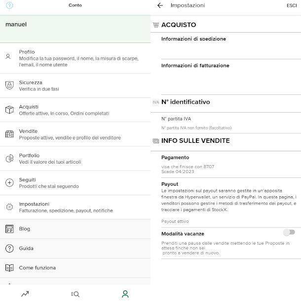 impostazioni app StockX