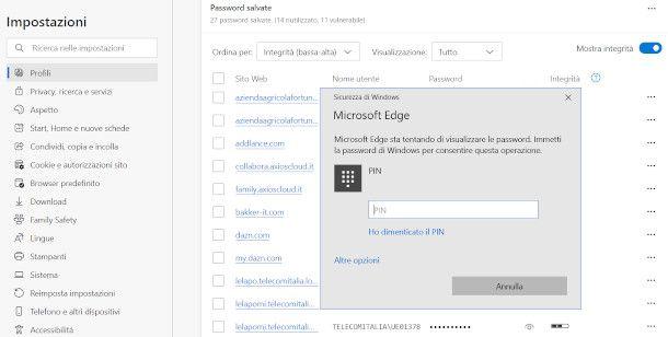 visualizzare le password su browser edge da pc