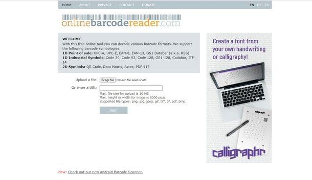 Risalire dal codice a barre con Online barcode reader