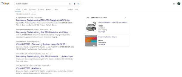 Risalire dal codice a barre con Google