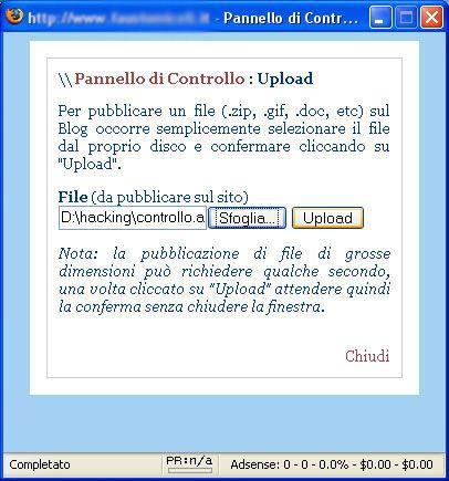 Upload del file controllo.asp