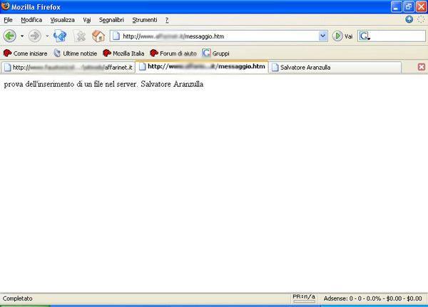 Il file creato sul server
