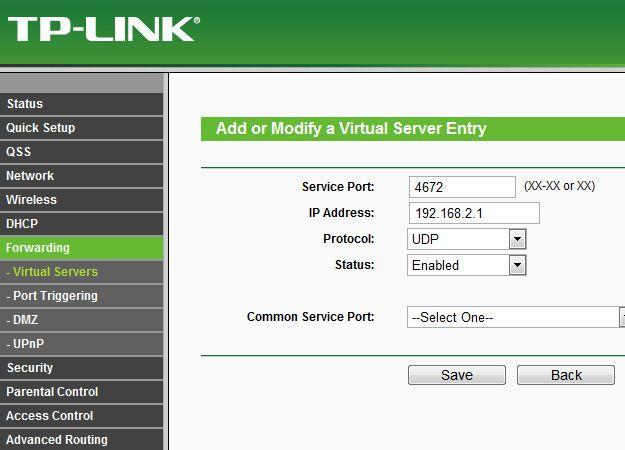 Pannello di controllo modem TP-Link