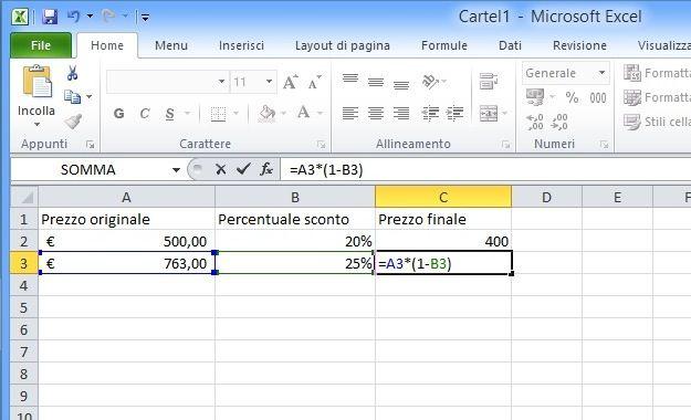 Come Sottrarre La Percentuale In Excel Salvatore Aranzulla