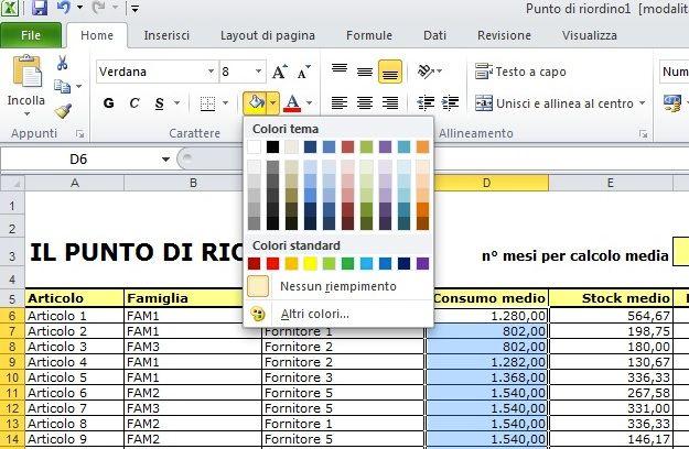 Come cambiare colore sfondo excel