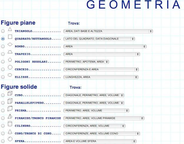 programma per risolvere problemi di geometria
