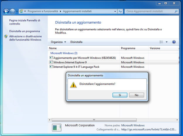 Disinstallazione Internet Explorer