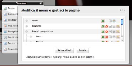 Modificare pagine del sito Web creato