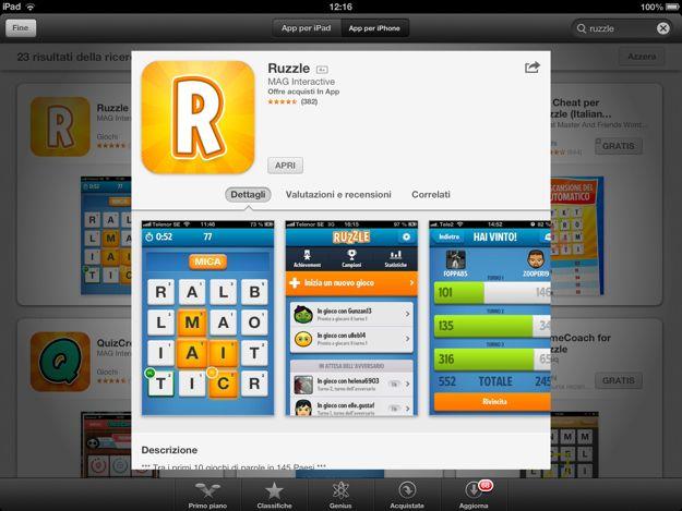 gioco ruzzle gratis per ipad