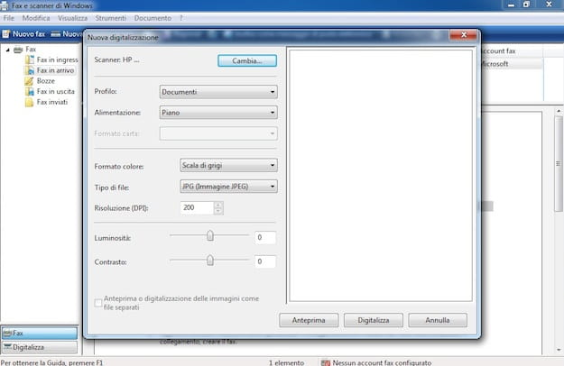 Scansione con Windows 7