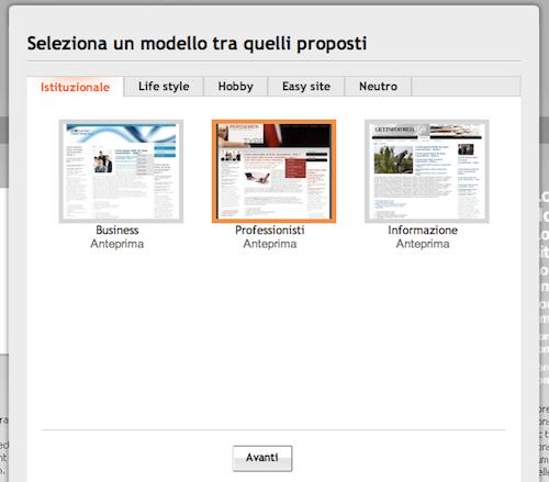 Creazione sito Web gratis: scelta template