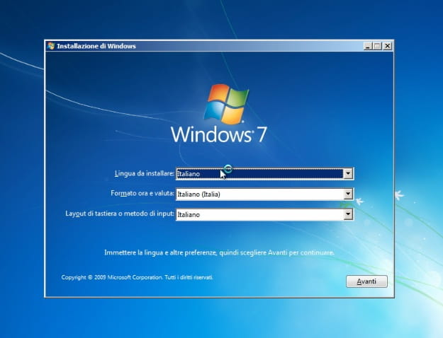 Screenshot dell'installazione di Windows 7