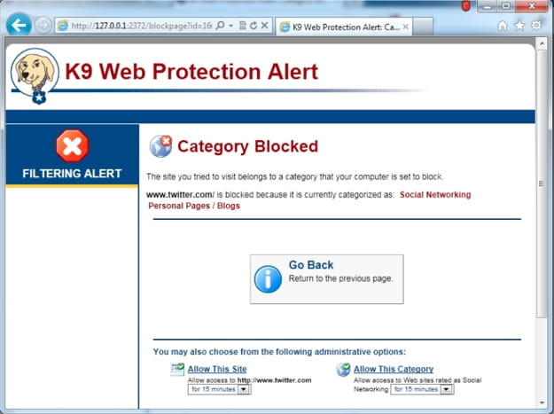 Руководство пользователя K9 Web Protection Веб-сайт заблокирован