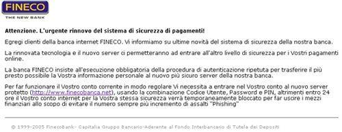 Fineco E-mail di Phishing