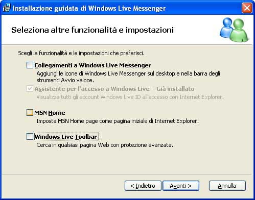 Installazione di Windows Live Messenger