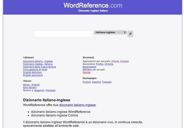 Come tradurre in inglese lingue senza sforzo for Interno wordreference