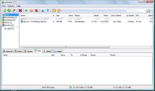 uTorrent che scarica